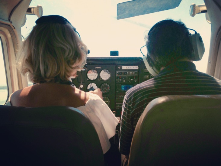 My husband was a little concerned that in this picture, I'm the only one with my hands on the controls.
